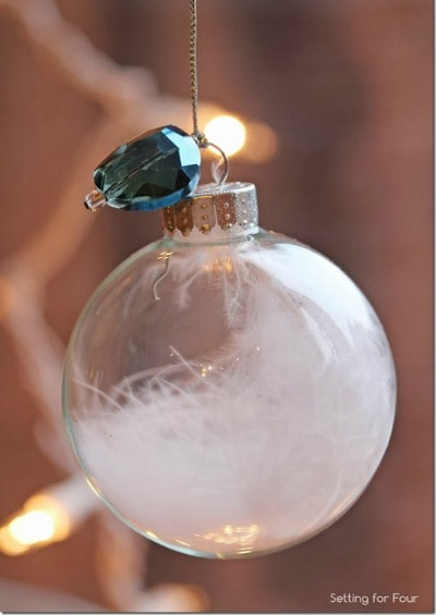 Jewel Feather Ball Ornament DIY | Setting for Four