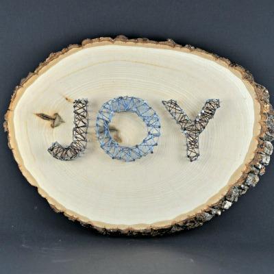Joy String Art on Log Slice - Suburble