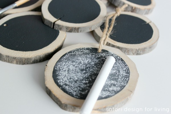 Log Slice Chalkboard Ornaments - How to Prime a Chalkboard Before Using