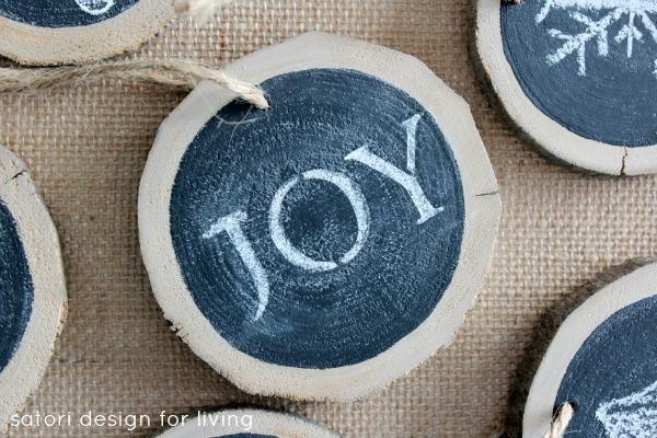 Log Slice Chalkboard Ornaments for Christmas - JOY Christmas Ornament - Satori Design for Living