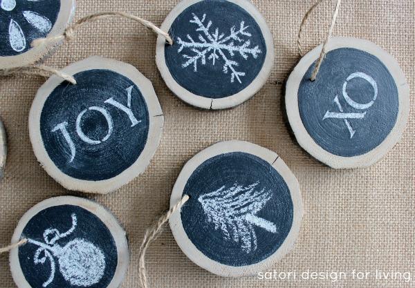 Wood Slice Chalkboard Ornaments or Gift Embellishments