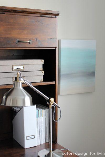 Office Makeover - DIY Art Canvas, RANARP work lamp, Printer's Keyhole Desk - Satori Design for Living
