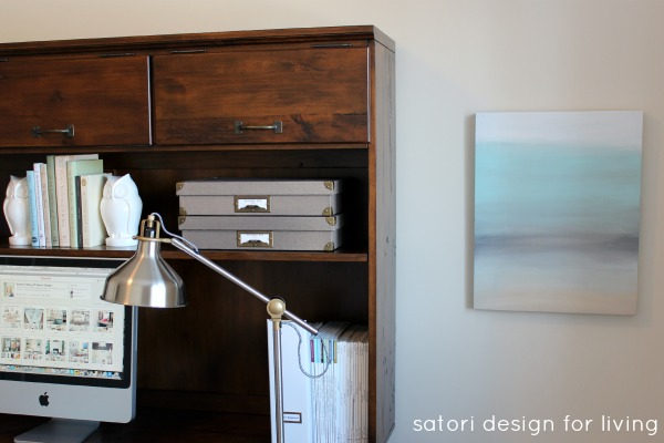 Office Makeover- Easy Art Project Using an Old Canvas - Satori Design for Living