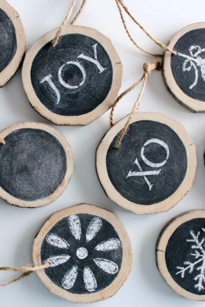 DIY Wood Slice Chalkboard Christmas Tree Ornaments