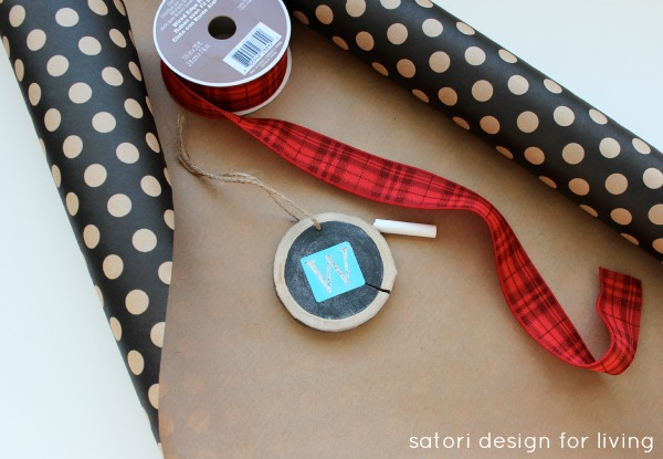 Christmas Gift Wrapping - chalkboard gift tags, craft paper, red ribbon | Satori Design for Living