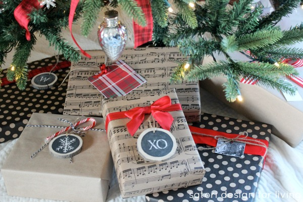 Christmas Gift Wrapping - chalkboard gift tags, printed craft paper, red ribbon | Satori Design for Living