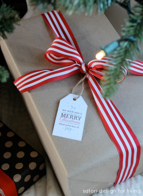 Christmas Gift Wrapping - printed gift tags, craft paper, red ribbon | Satori Design for Living