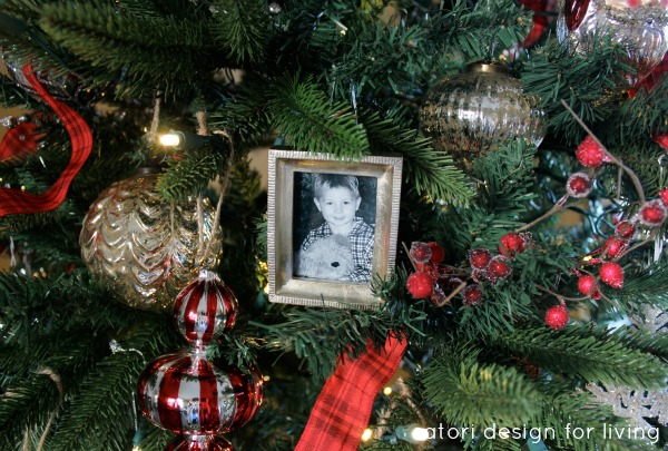 Red, Silver and White Christmas Tree with photo ornaments | Satori Design for Living