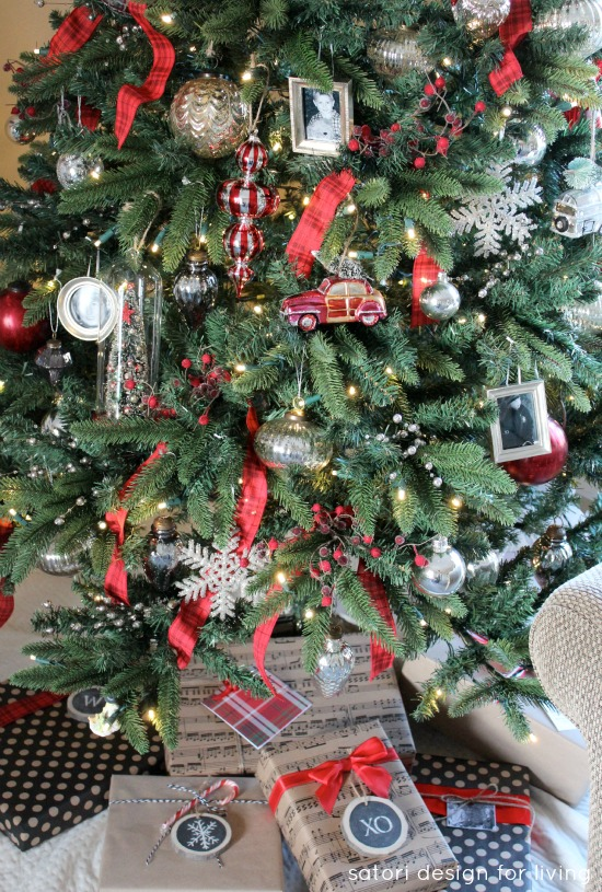 Holiday Decorating Ideas - Red, Silver and White Christmas Tree | Satori Design for Living