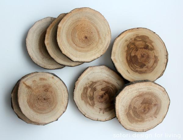 West Elm Inspired Drink Coasters | DIY Log Slice Coasters | Satori Design for Living