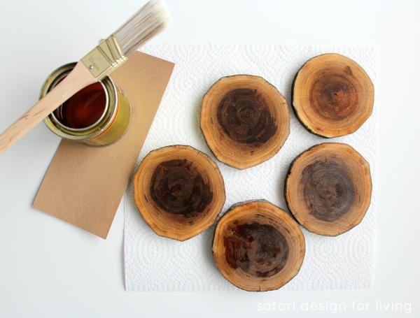 How to Make Wood Slice Drink Coasters   Satori Design for Living