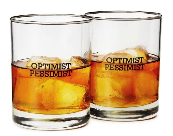 Optimist Pessimist Cocktail Glasses | Satori Design for Living
