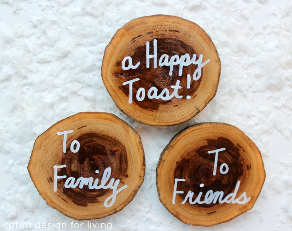 Handmade Gifts - West Elm Inspired Drink Coasters - Log Slice Coasters - Satori Design for Living
