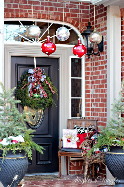 All Things Christmas - Christmas House Tour Front Porch - Dimples and Tangles