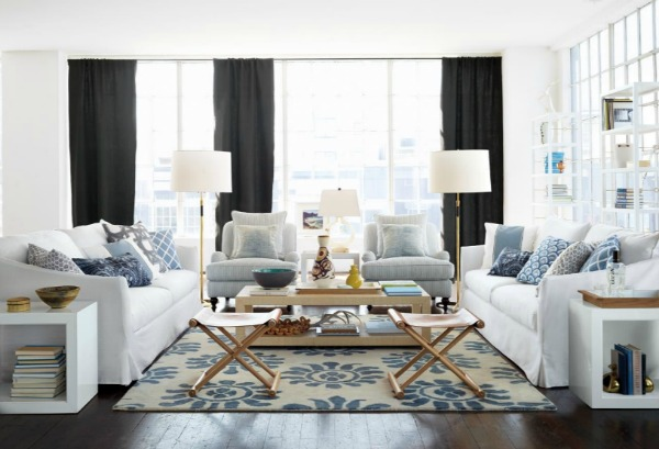 Mixing Throw Pillows - Blue and White Living Room by Serena & Lily
