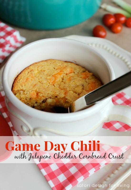 Game Day Chili with Jalapeno Cheddar Cornbread Crust | Satori Design for Living