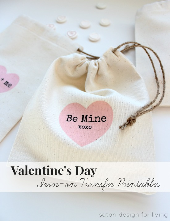 Valentine's Day Treat Bags with Iron-on Transfer Printables