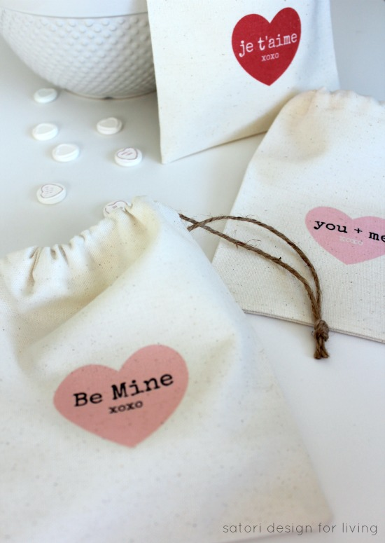 DIY Valentine's Day Treat Bags with Iron-on Transfer Printables - Satori Design for Living