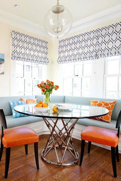 Lake House Window Treatments - Blue and White Roman Blinds via Better Homes and Gardens