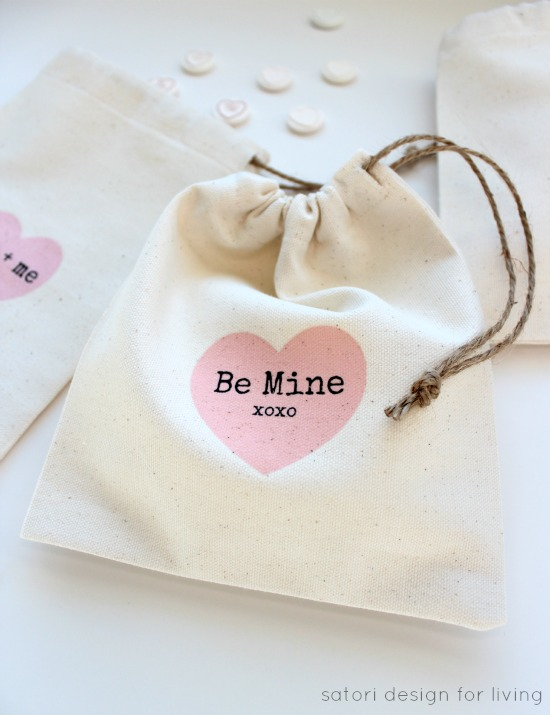 DIY Valentine's Day Treat Bags with Heart Iron on Transfers - Satori Design for Living