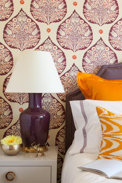 lotus wallpaper in plum by Galbraith & Paul - Grant K Gibson Interior Design