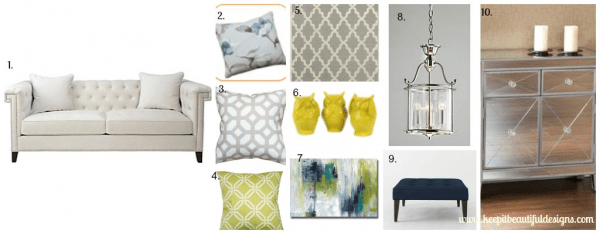 Charleston Sofa Moodboard by Keep It Beautiful Designs - Designer Challenge Hosted by Satori Design for Living