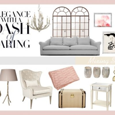 Designer Challenge Series: Elegance with a Dash of Darling Living Room Mood Board by Pink Little Notebook