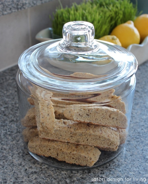 Lemon Poppyseed Biscotti in a Glass Canister - Satori Design for Living