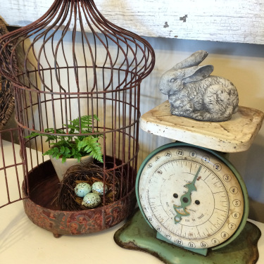 Rustic Bird Cage & Weigh Scale