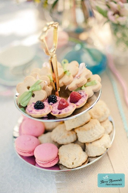 Tiered Cake Stand with Goodies - The Marvelous Vintage Tea Party Co