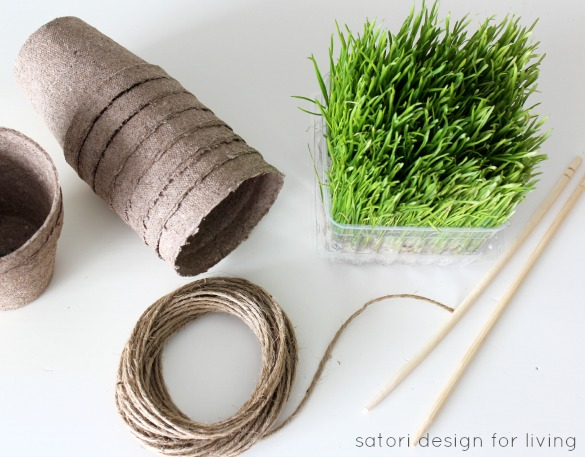 How to create wheatgrass peat pots for Easter - Easter Table Decorations - Satori Design for Living