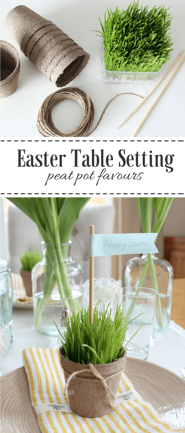Create a Nature Inspired Easter Tablescape with Wheatgrass Peat Pots