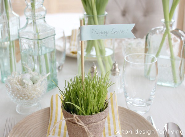 Nature Inspired Easter Table Setting with Wheatgrass Peat Pot Table Favors - Satori Design for Living