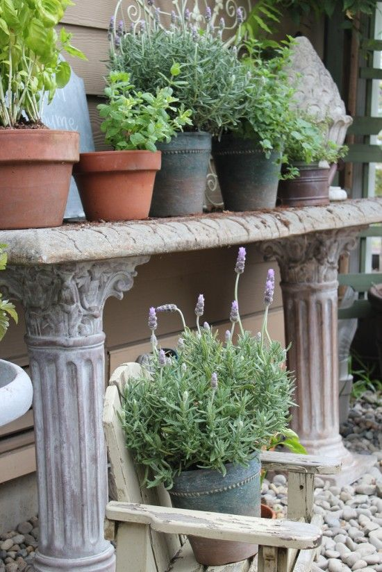 Herb Garden in Pots - Stone Potting Bench - The Inspired Room