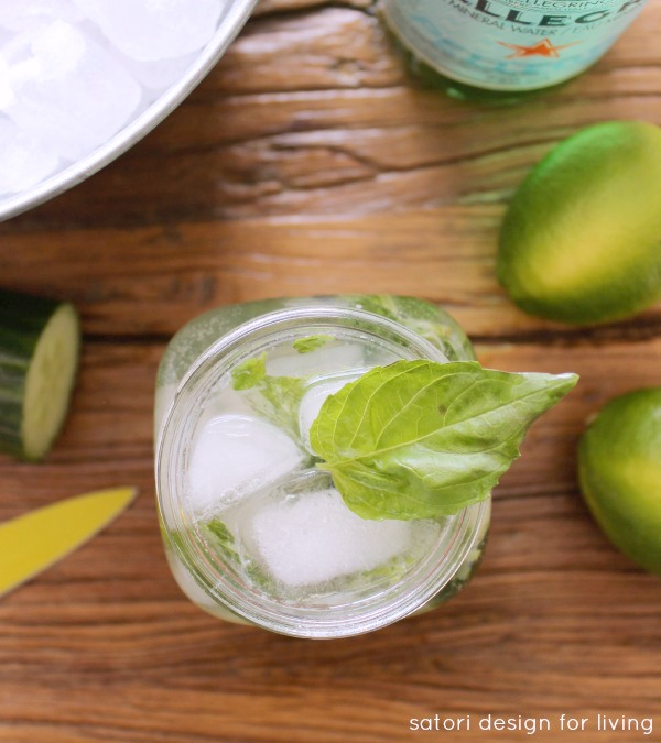 Cucumber Basil Mojito - Low Calorie Cocktail Made with Fresh Ingredients