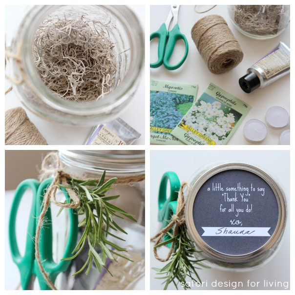 Easy Garden Themed Gift in a Jar - Handmade Gift Idea for the Hostess or Mother's Day - Satori Design for Living