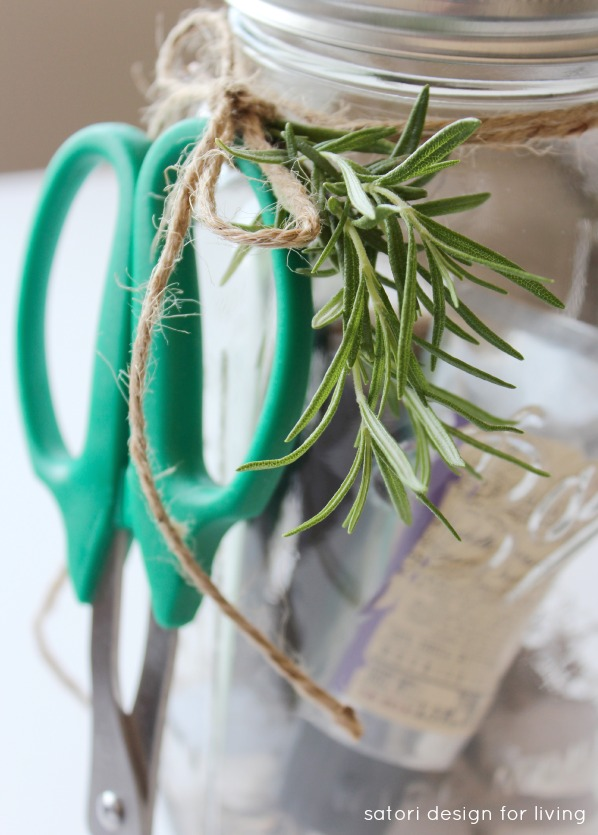 Garden Themed Hostess Gift in Mason Jar with Snips and Fresh Rosemary