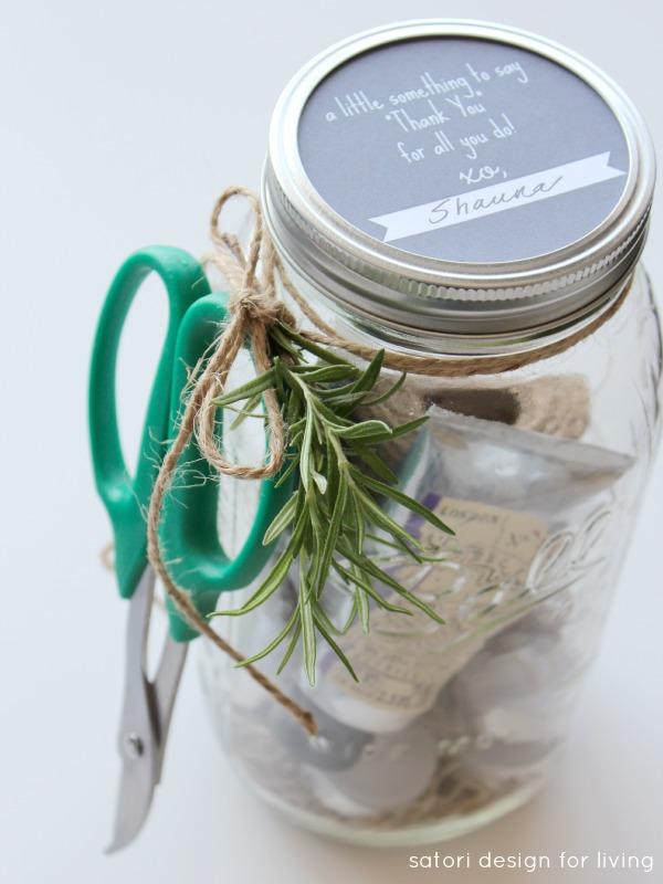 Garden Themed Hostess Gift with Gift Tag Mason Jar Printable - Satori Design for Living