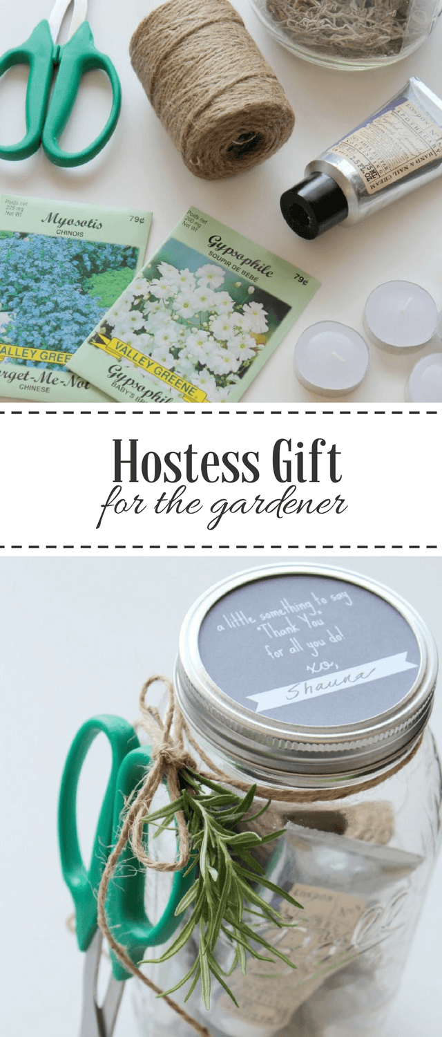 Easy Garden Themed Hostess Gift in Mason Jar with Hand Lotion, Citronella Tea Lights, Jute String and More