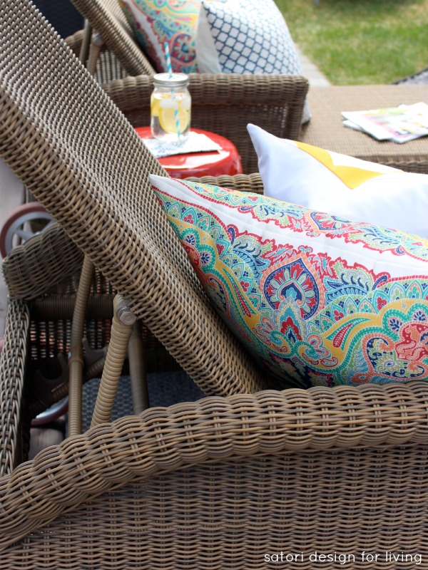 Outdoor Decorating Ideas - Living Space with Wicker Chaise Lounge and Paisley Outdoor Pillows - Satori Design for Living