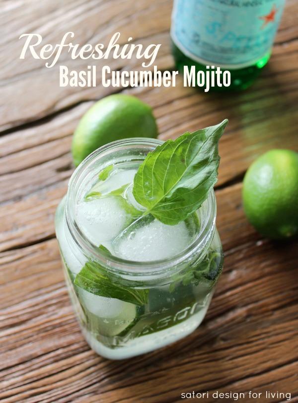 Basil Cucumber Mojito in Mason Jar