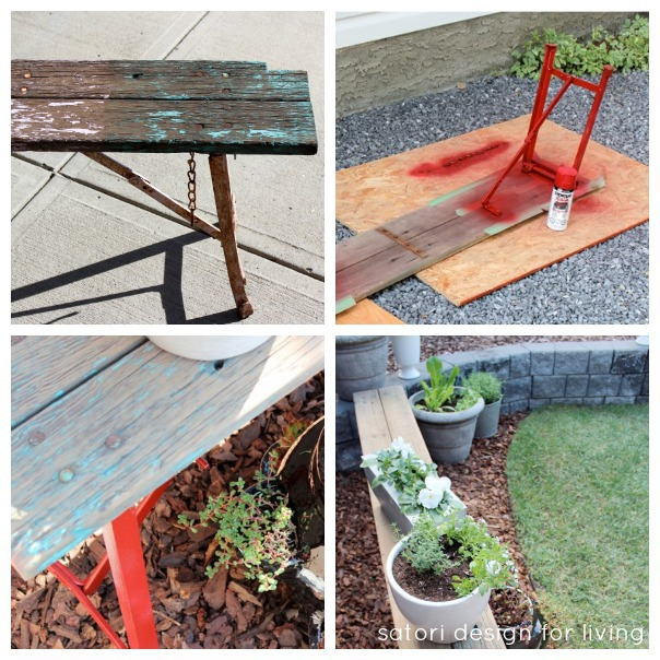 Outdoor Paint Project - Salvaged Bench Makeover with Red Spray Paint - Container Garden