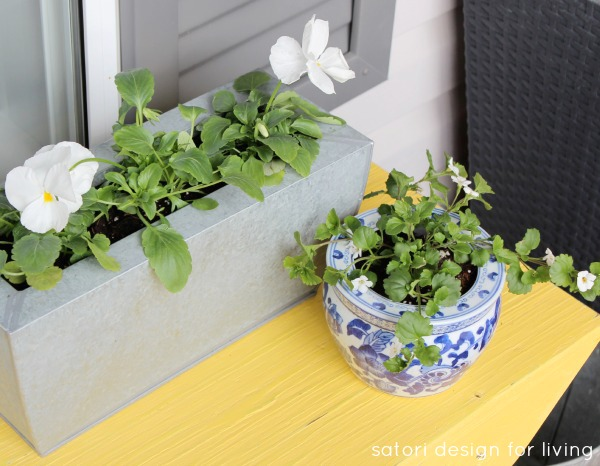 Spring Front Porch Decorating Ideas - Galvanized Planter with Pansies - Chinoiserie Blue and White Pot