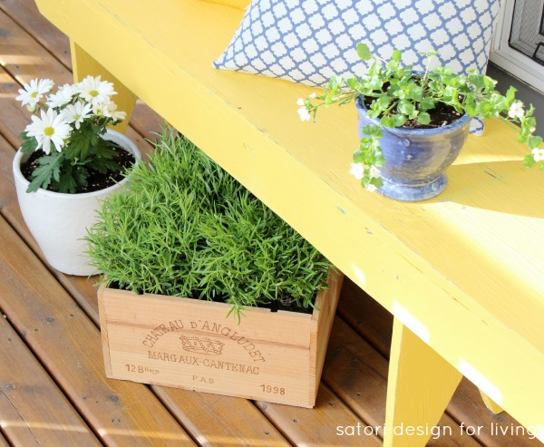 Spring Front Porch Decorating - Cottage Style - Yellow Bench with Wine Crate Planter and Blue Decor