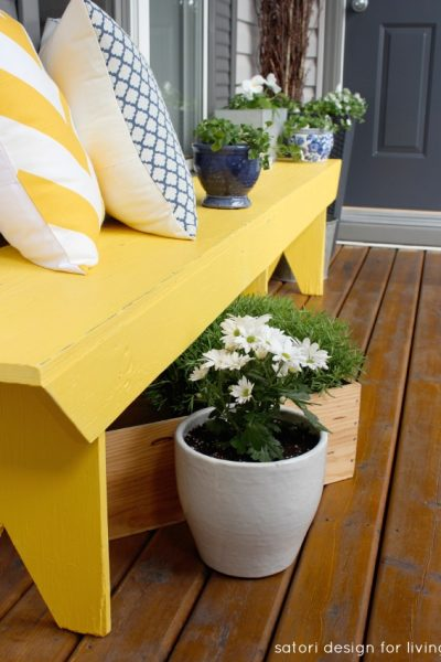 Cottage Charm Spring Front Porch with Yellow Painted Bench - Satori Design for Living