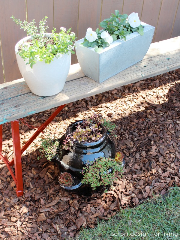 Using a Salvaged and Weathered Bench to Create a Vegetable, Herb and Flower Container Garden