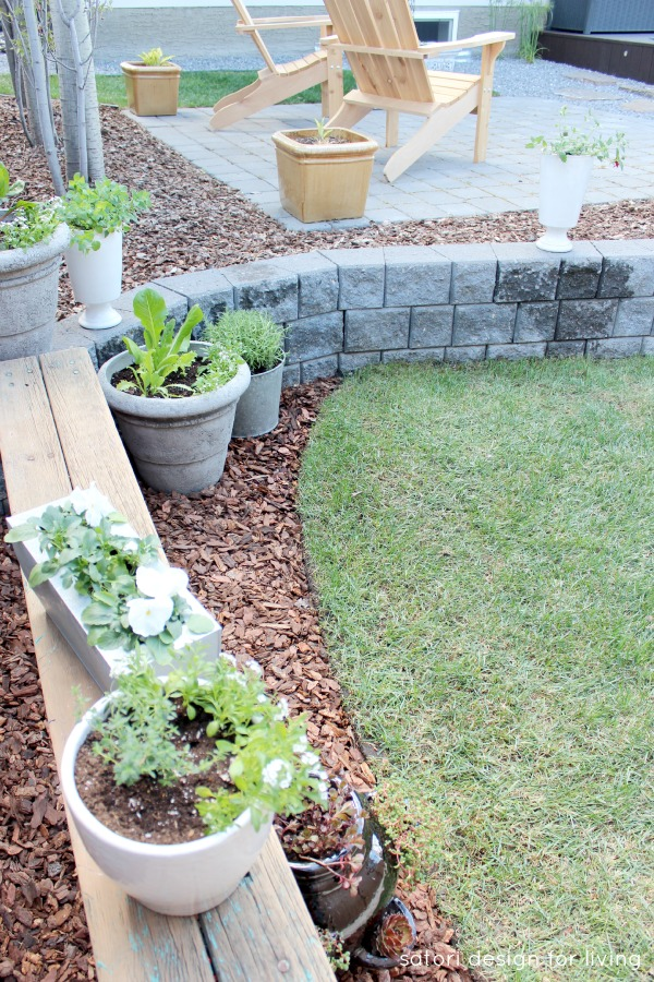 Grey Stone Retaining Wall with Rustic Bench Container Garden