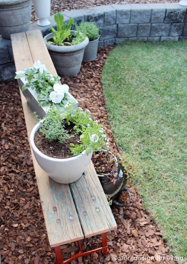 Salvaged Red Bench Makeover - Vegetable, Herb and Flower Garden