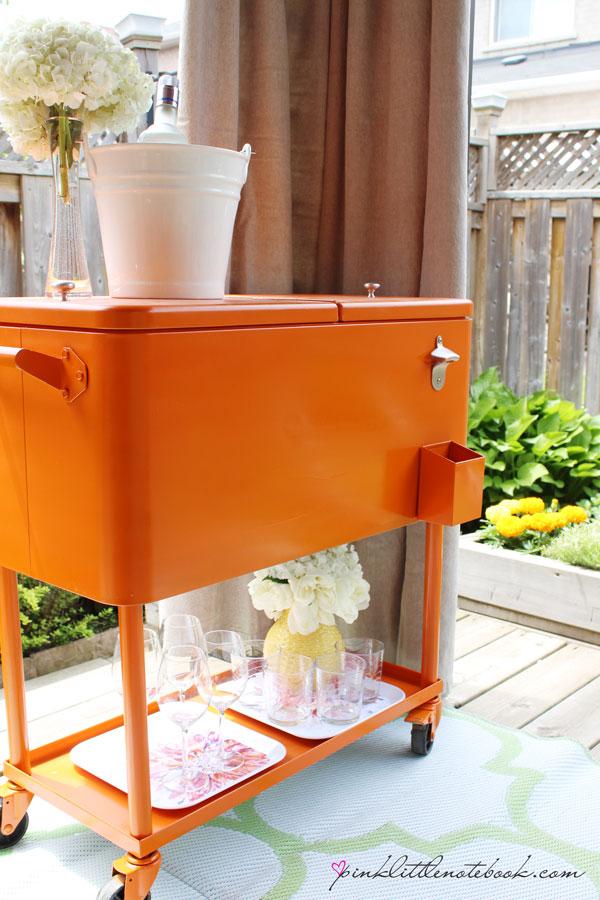 orange cooler drink cart makeover for outdoor entertaining