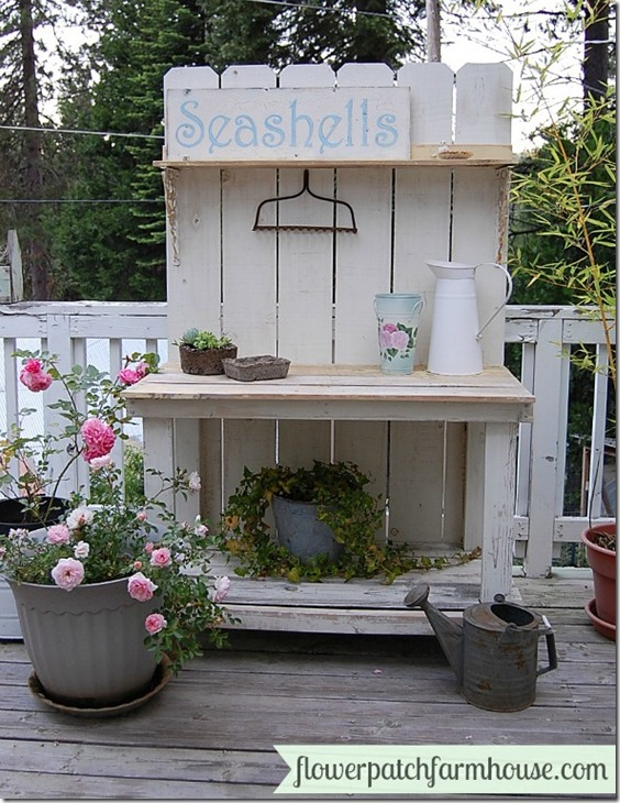 white painted potting bench for all seasons
